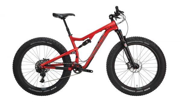 """Salsa Bucksaw Carbon Fatbike Komplettrad, 26"""", M/17"""", transparent red"""